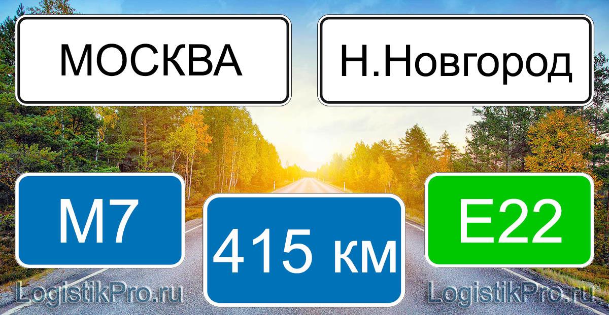 Расстояние между Москвой и Нижним Новгородом 417 км на машине по трассе М7 Е22