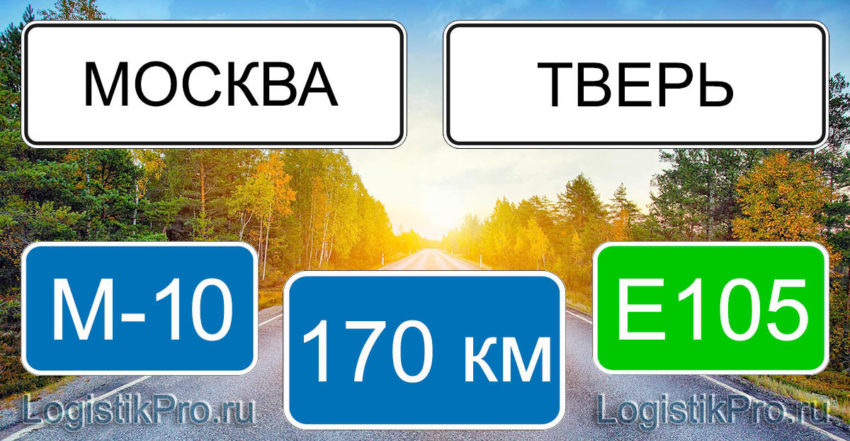 Расстояние между Москвой и Тверью 170 км на машине по трассе М-10 Е105