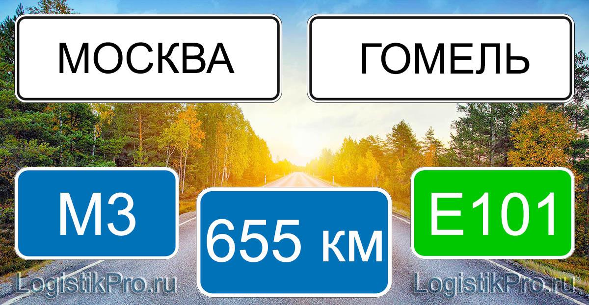 Расстояние между Москвой и Гомелем 655 км на машине по трассе М3 и Е101