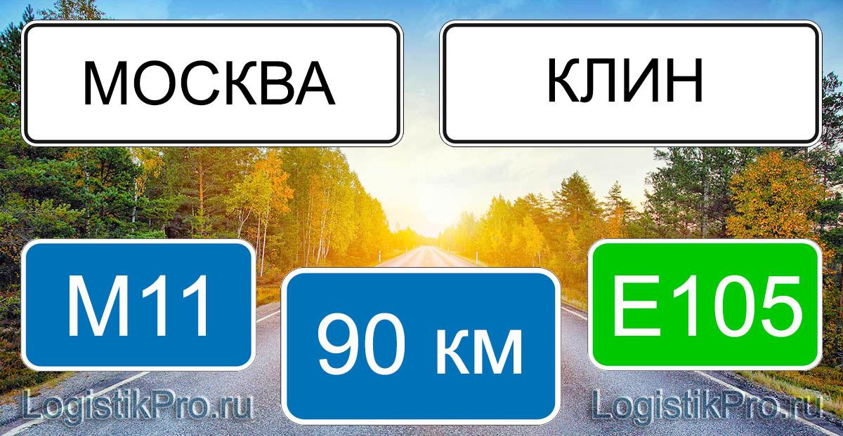 Расстояние между Москвой и Клином 90 км на машине по трассе М11 Е105
