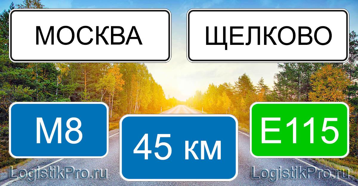 Расстояние между Москвой и Щелково 45 км на машине по трассе М8 и E115