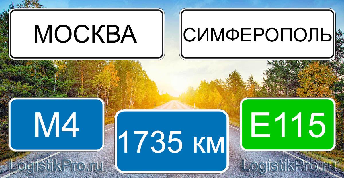 Расстояние между Москвой и Симферополем 1735 км на машине по трассе М4 Е115