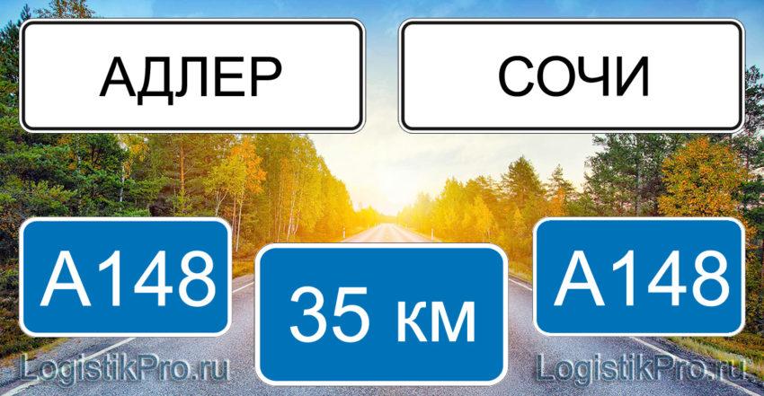 Расстояние между Адлером и Сочи 35 км на машине по трассе А148