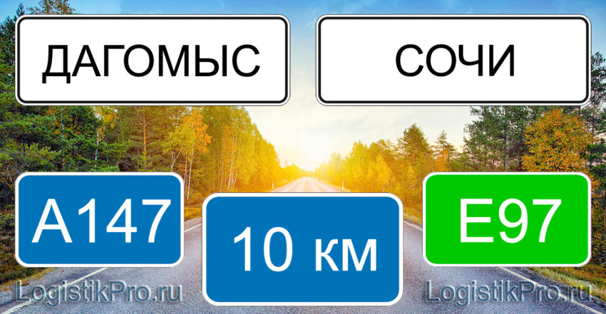 Расстояние между Дагомысом и Сочи 10 км на машине по трассе А147 Е97