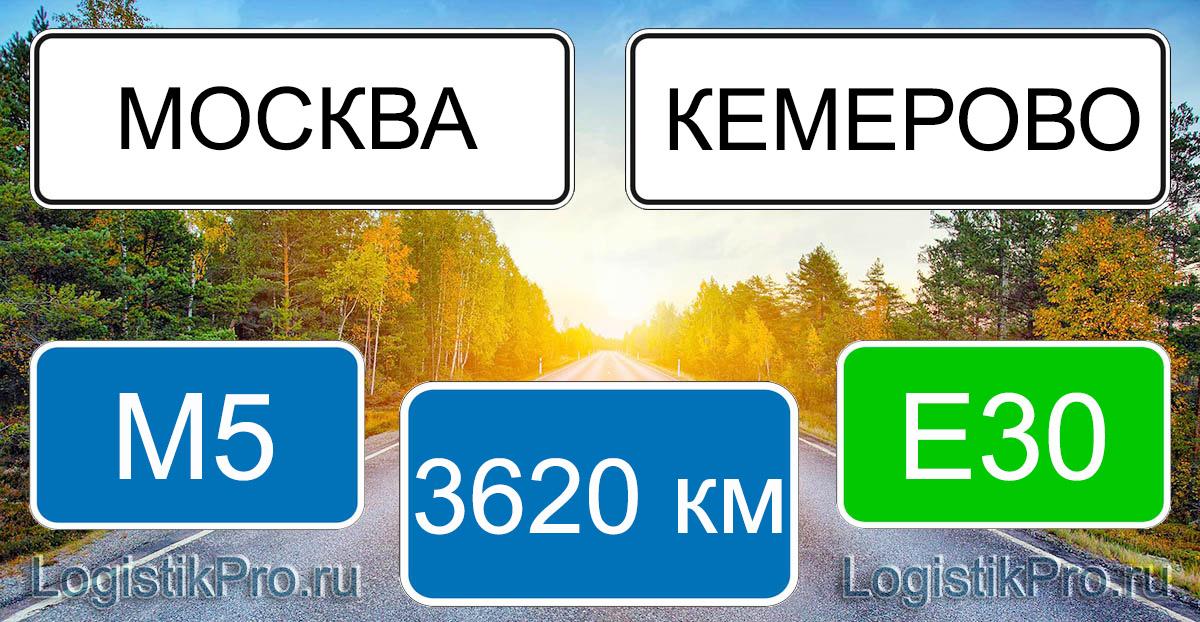 Расстояние между Москвой и Кемерово 3620 км на машине по трассе М5 Е30