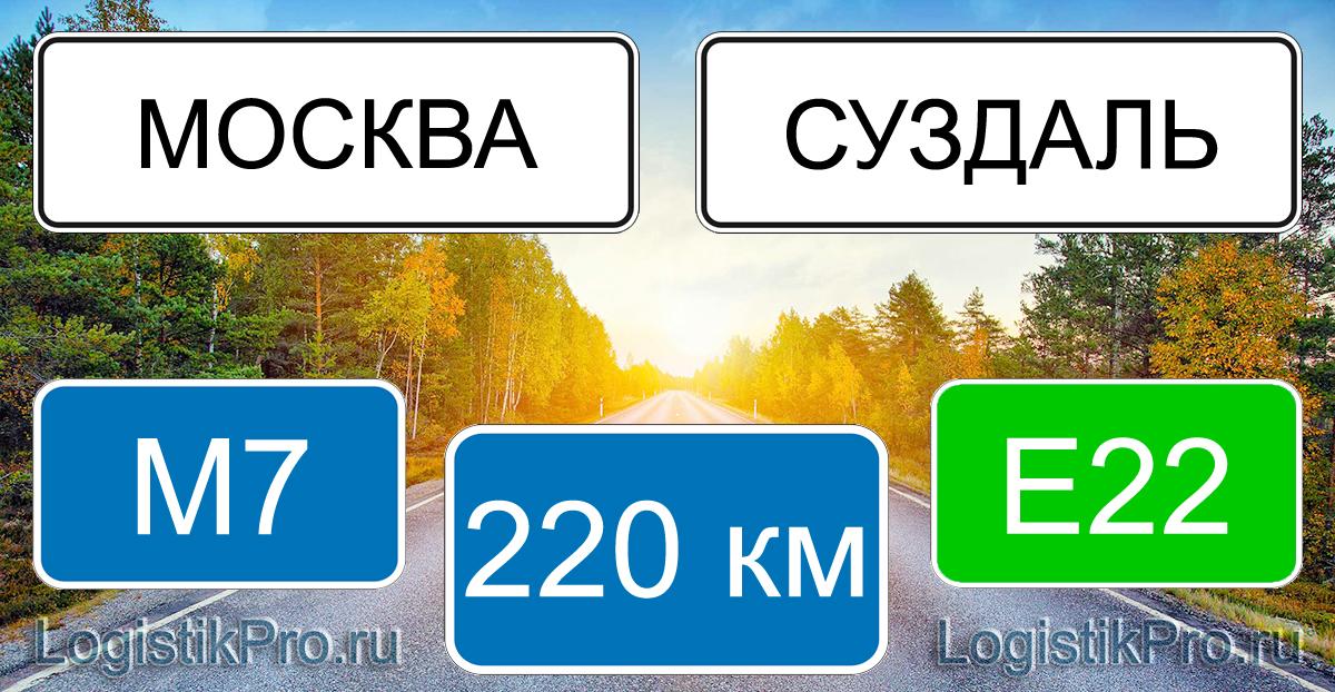 Расстояние между Москвой и Суздалем 220 км на машине по трассе М7 Е22