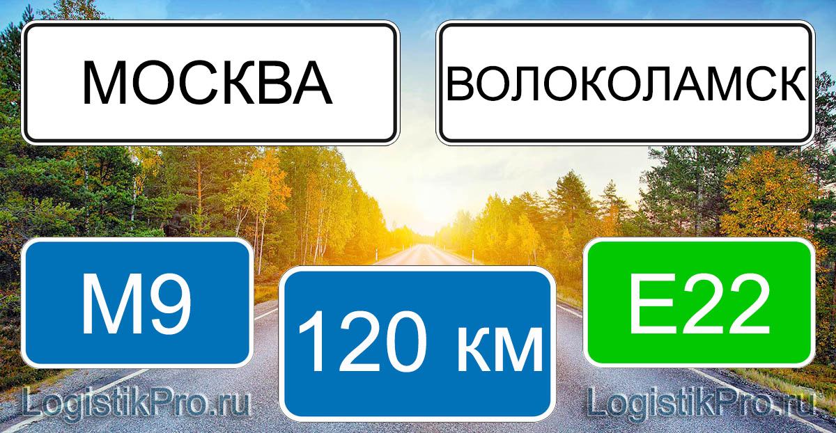 Расстояние между Москвой и Волоколамском 120 км на машине по трассе М9 Е22