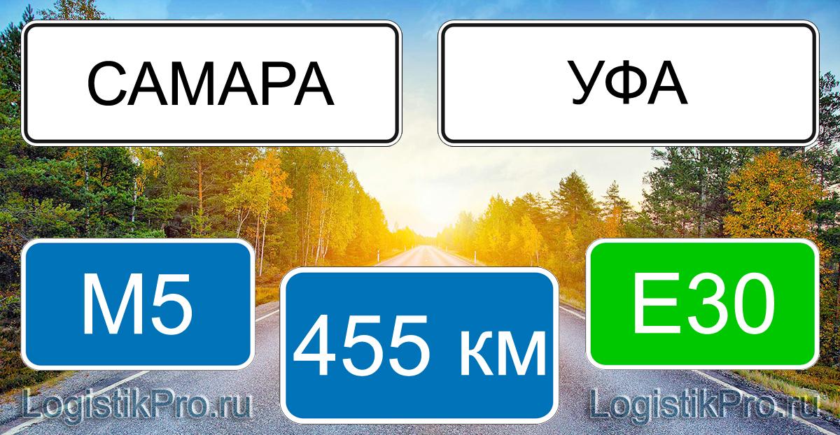Расстояние между Самарой и Уфой 360 км на машине по трассе Р240