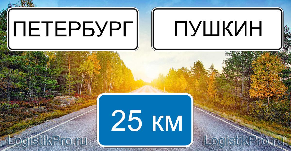 Расстояние между Санкт-Петербургом и Пушкином 25 км на машине по шоссе