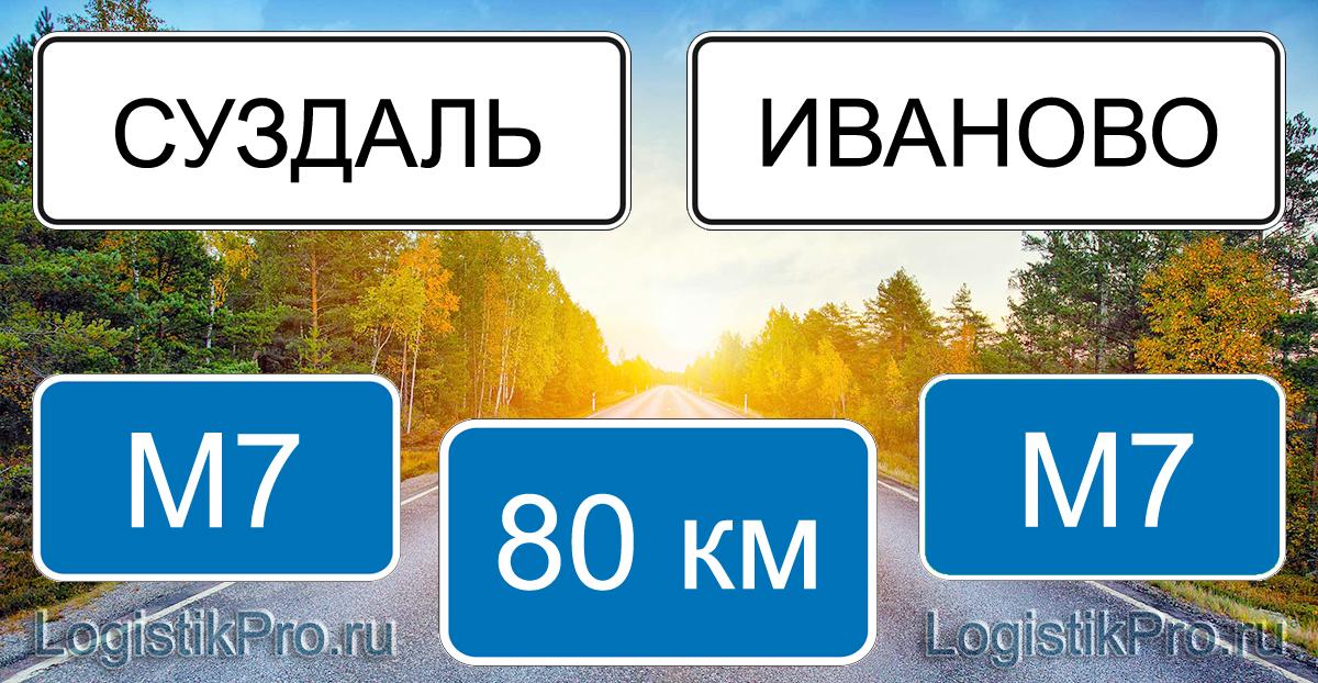 Расстояние между Суздалем и Иваново 80 км на машине по трассе М7