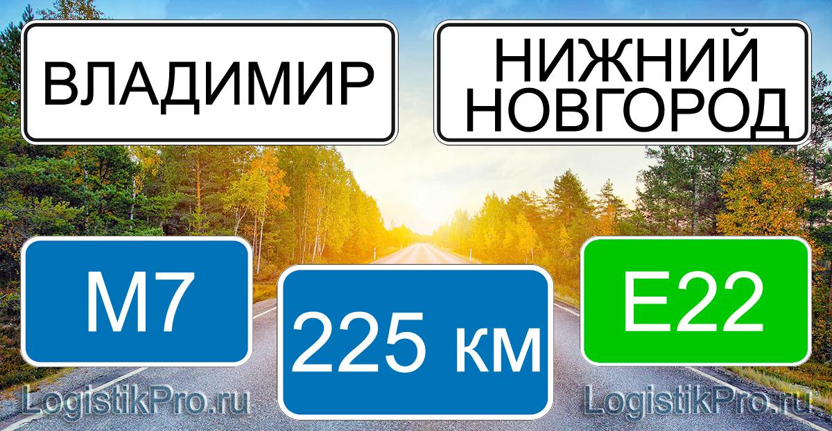 Расстояние между Владимиром и Нижним Новгородом 225 км на машине по трассе М7 Е22