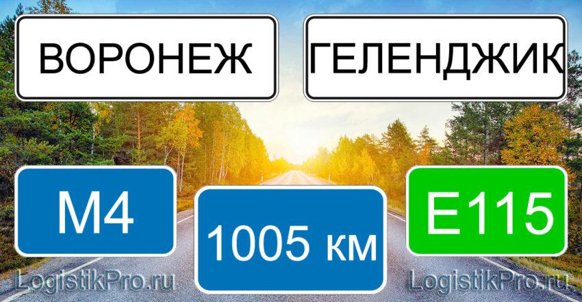 Расстояние между Воронежем и Геленджиком 1005 км на машине по трассе М4 Е115