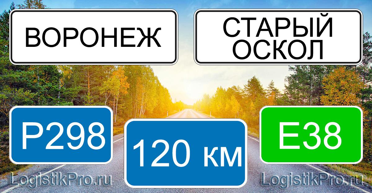 Расстояние между Воронежем и Старым Осколом 120 км на машине по трассе P298 E38