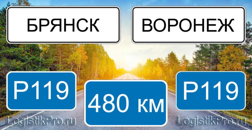 Расстояние между Брянском и Воронежем 480 км на машине по трассе P119