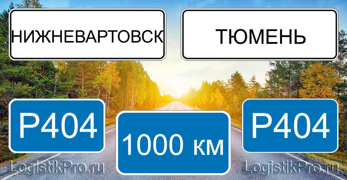 Расстояние между Нижневартовском и Тюменью 1000 км на машине по трассе P404