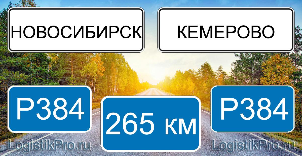 Расстояние между Новосибирском и Кемерово 265 км на машине по трассе P384