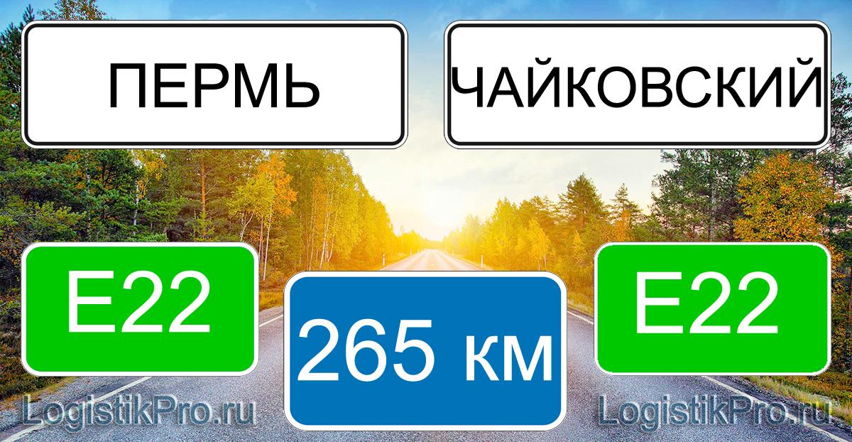Расстояние между Пермью и Чайковским 265 км на машине по трассе E22