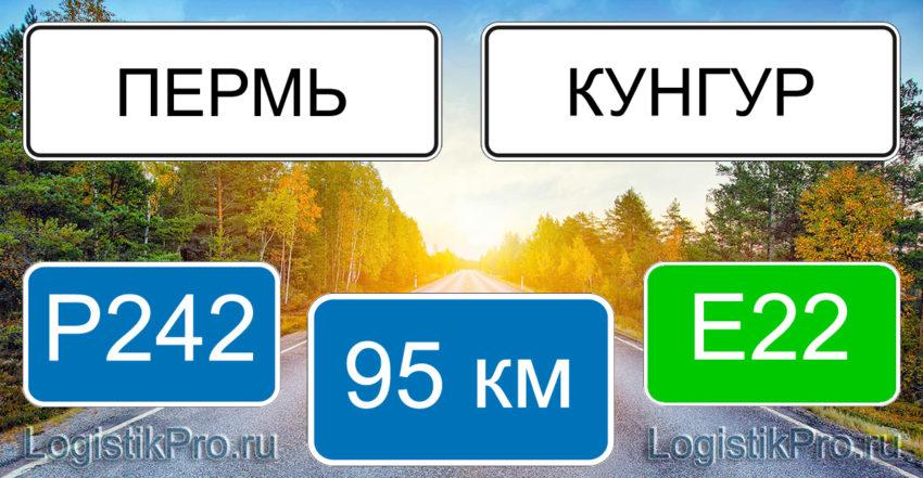 Расстояние между Пермью и Кунгуром 95 км на машине по трассе Р242 Е22