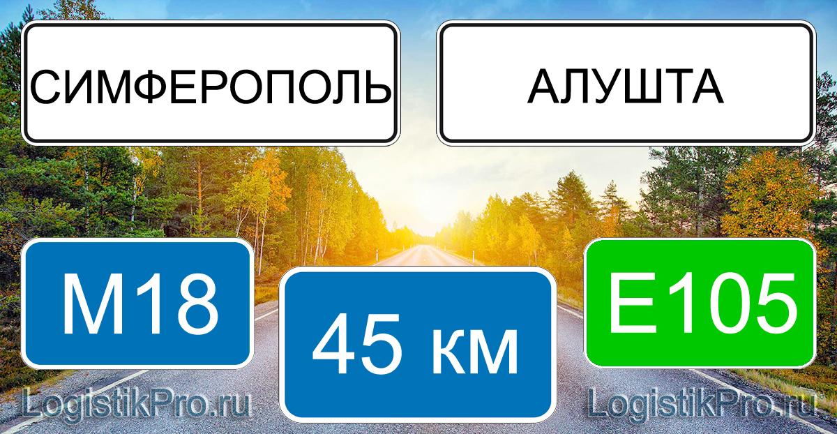 Расстояние между Симферополем и Алуштой 45 км на машине по трассе M18 E105