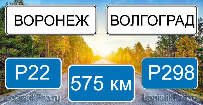 Расстояние между Воронежем и Волгоградом 575 км на машине по трассе P22 и Р298